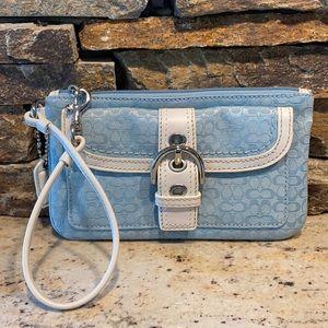 Light blue Vintage coach wristlet wallet